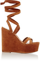 Gianvito Rossi Women's Ankle-Tie Platform Wedge Sandals-BROWN