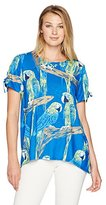 Alfred Dunner Women's Parrot Print, Tie Sleeve