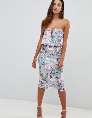 Girl In Mind Girl in Mind floral v bar bandeau midi dress-Multi
