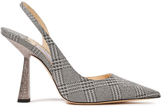Jimmy Choo Fetto 100 Glittered Prince Of Wales Checked Leather Slingback Pumps