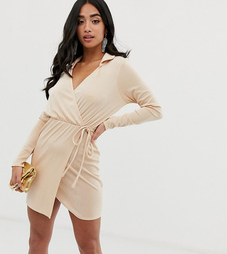 ASOS DESIGN PETITE slinky wrap mini dress with collar