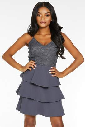 Quiz Petite Grey Glitter Lace V Neck Tiered Skater Dress