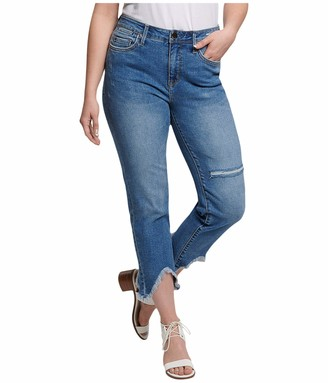 Seven7 Women's High Rise Straight with Shark Fray