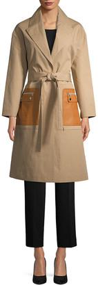 Yves Salomon Mackintosh Leather Pocket Trench Coat