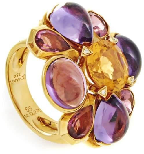 Chanel 18K Yellow Gold Multi-Gemstone Cocktail Ring