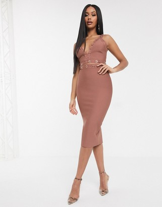 The Girlcode bandage plunge front crop top with ring detail coord in rose tan