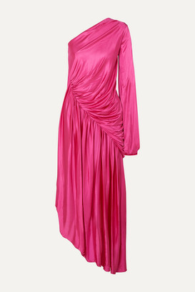 Halpern One-sleeve Draped Asymmetric Stretch-jersey Midi Dress - Pink