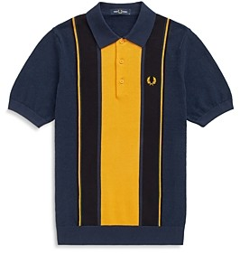 Fred Perry Cotton Color Blocked Striped Regular Fit Polo Shirt