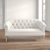 Ophelia Wessels Tufting and Pleated Roll Arms Settee & Co.