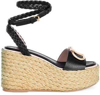 Valentino VLogo Leather Espadrille Platform Wedge Sandals