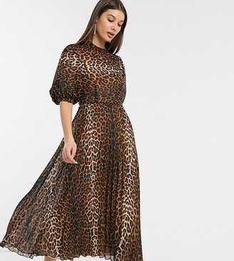 Asos Tall ASOS DESIGN Tall high neck pleated midi dress with puff sleeve in leopard print