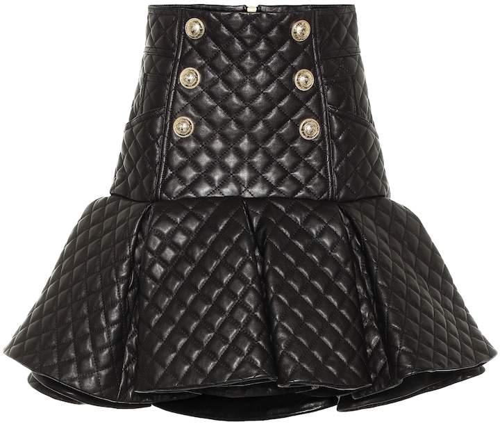 229ca03fc Leather Skirt Balmain - ShopStyle