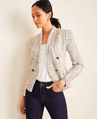 Ann Taylor Fringe Tweed Double Breasted Jacket