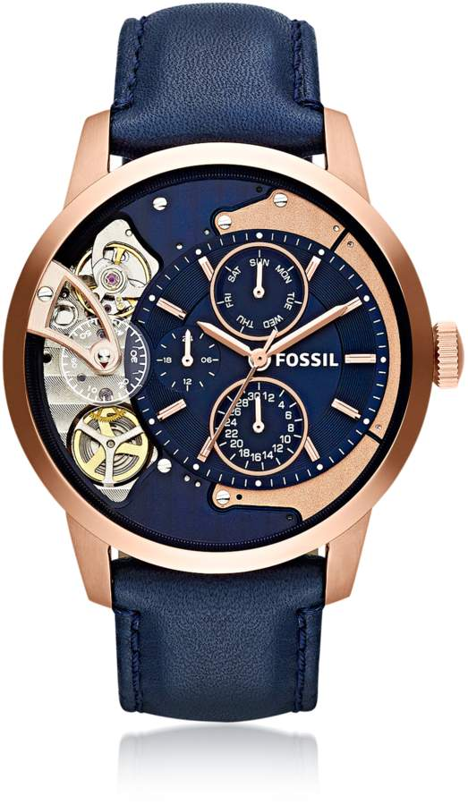 Fossil Townsman Multifunction Navy Leather Men's Watch