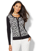 New York & Co. 7th Avenue - Lace-Overlay Chelsea Crewneck Cardigan