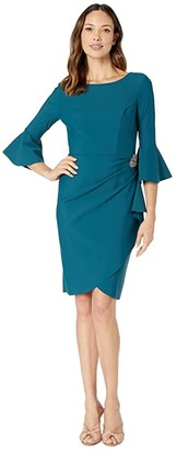 Alex Evenings Short Slimming Dress with Bell Sleeves