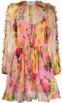 MSGM Floral Print Silk Dress