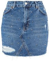 Topshop Moto rip stud denim skirt