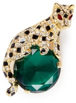 Kenneth Jay Lane Glass crystal gold plated leopard brooch