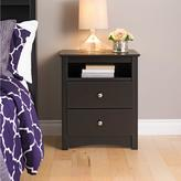 Prepac Sonoma 2-Drawer Tall Nightstand with Open Cubbie in Black