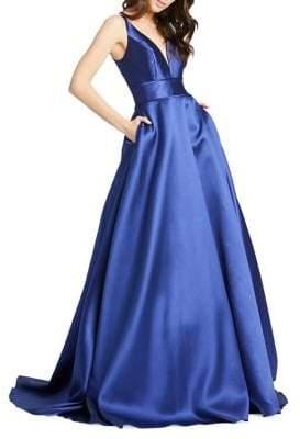 Mac Duggal Ieena Plunge Satin Ball Gown