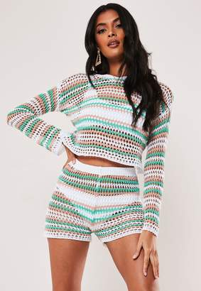 Missguided White Co Ord Pastel Stripe Crochet Top