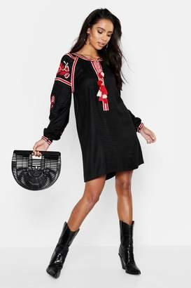 boohoo Heavily Embroidered Bohemian Smock Dress