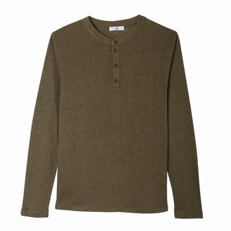 La Redoute Collections Long-Sleeved Linen T-Shirt with Mandarin Collar