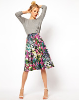 ASOS Midi Skirt in Digital Floral Print