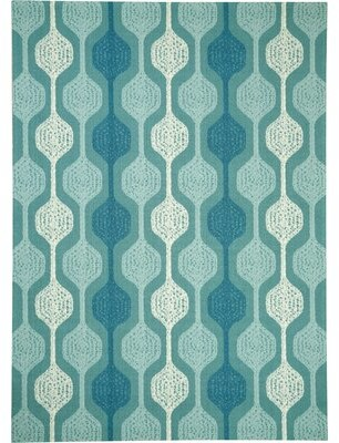 "Waverly Sun-n-Shade Geometric Aqua Blue Area Rug Rug Size: Rectangle 7'9"" x 10'10"""