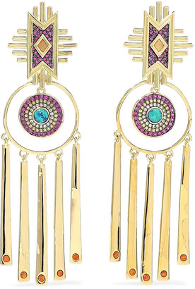 Noir 14-karat Gold-plated Crystal Earrings