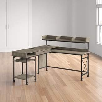Three Posts Oakside L-Shape Executive Desk with Hutch Color: Northern Oak