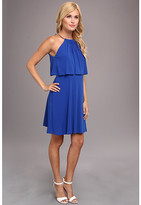 Jessica Simpson Halter Popover Bodice Flared Dress w/ Back Key Hole