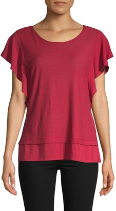Vince Camuto Ruffle Cotton Blend Top