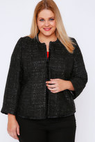Yours Clothing Black Sparkle Boucle Jacket With Fringe Trim