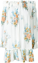 Alexander McQueen floral off-the-shoulder smocked dress - women - Silk - 38