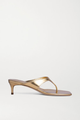 BY FAR Jackie Metallic Leather Sandals - Gold
