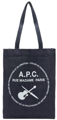 A.P.C. Logo-print Denim Tote Bag - Indigo