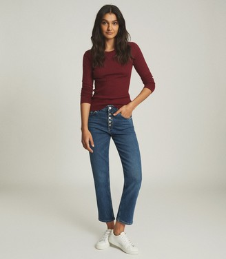 Reiss MICHELLE CREW NECK KNITTED TOP Burgundy