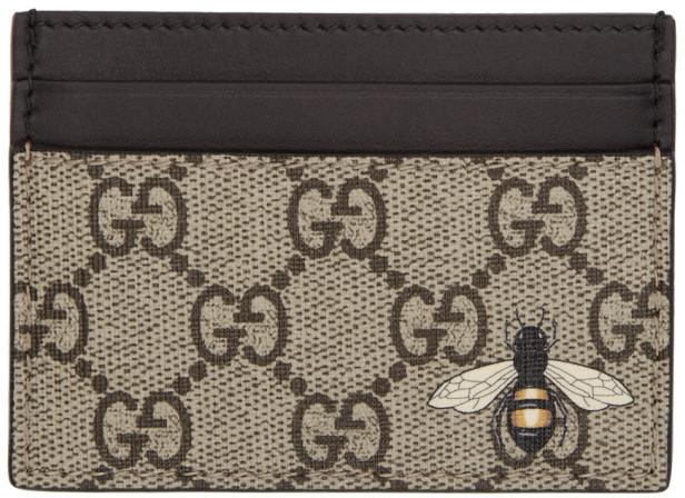 Gucci Beige GG Supreme Bee Card Holder