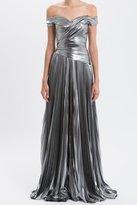 J. Mendel Off-The-Shoulder Matte Metallic Gown