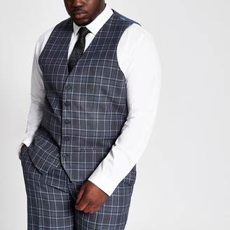 River Island Big and Tall blue check suit waistcoat