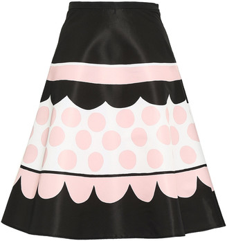 RED Valentino Printed Faille Flared Skirt