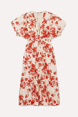 Johanna Ortiz Floral-print Cotton-poplin Midi Dress - Red