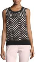 St. John Sleeveless Dotted Silk-Front Shell