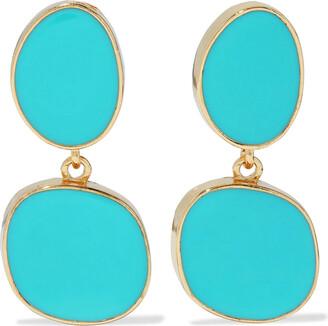Kenneth Jay Lane 22-karat Gold-plated Enamel Clip Earrings