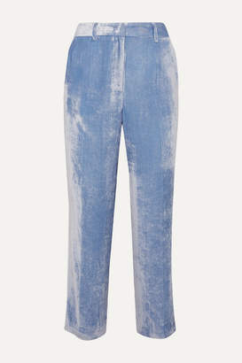 Sies Marjan Willa Silk And Cotton-blend Corduroy Pants - Light blue
