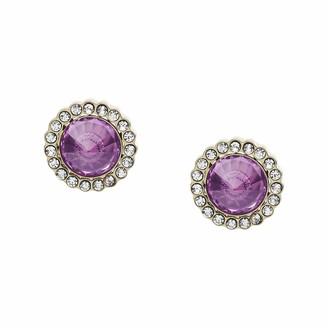 Fossil Power Of Crystals Purple Stainless Steel Stud Earrings
