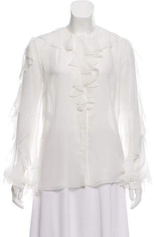 Giambattista Valli Ruffled Silk Top w/ Tags