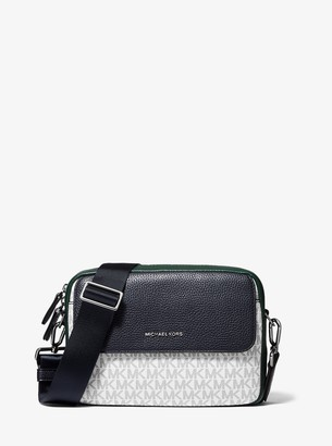 Michael Kors Hudson Color-Block Logo and Pebbled Leather Crossbody Bag